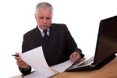 Rijpe zakenman die aan computer kijkt Royalty-vrije Stock Fotografie