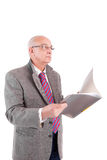 Rijpe Zakenman die document bekijkt royalty-vrije stock foto