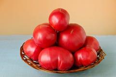 Rijpe zeer grote tomaten in een houten mand op een gekleurde achtergrond Royalty-vrije Stock Foto's