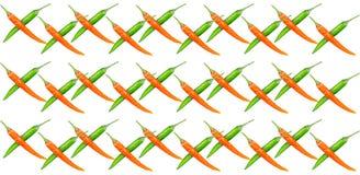 Rijreeks gekruiste partijen van de peper dun groenten van Spaanse peperpeulen hete van ornament bloemenpatroon op geïsoleerde ach vector illustratie