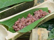 Rijst in bamboesteel Royalty-vrije Stock Afbeeldingen