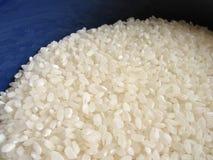 Rijst in blauwe kom stock foto's