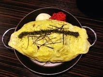 Rijst in de eieren Omu, Japans voedsel, Japan Royalty-vrije Stock Foto's