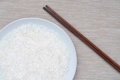 Rijst en eetstokjes stock foto's