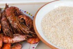 Rijst en garnalen Royalty-vrije Stock Foto's