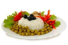 Rijst en gebraden kip. Royalty-vrije Stock Foto's