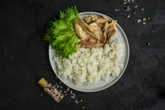 Rijst en gekookt kippenvlees Juiste voeding De achtergrond van het voedsel De ruimte van het exemplaar stock afbeeldingen