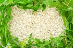 Rijst en groentenachtergrond Royalty-vrije Stock Foto
