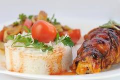 Rijst en vlees Stock Afbeeldingen