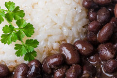 Rijst en zwarte bonen Stock Foto's