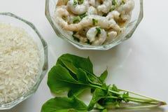 Rijst, garnalen en verse kruiden op witte achtergrond stock afbeelding