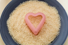Rijst in hart Royalty-vrije Stock Fotografie