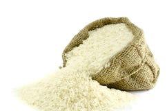 Rijst in Jutezak Royalty-vrije Stock Afbeeldingen