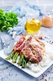 Rijst met asperge en vlees royalty-vrije stock afbeeldingen