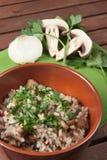 Rijst met Champignonpaddestoel Royalty-vrije Stock Foto's