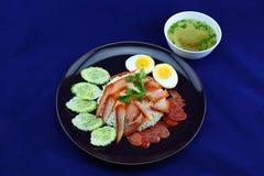Rijst met Geroosterd Varkensvlees Stock Foto