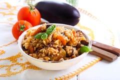 Rijst met gestoofde groenten Stock Foto