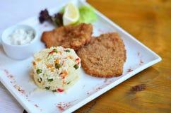 Rijst met groenten met een stuk vissen stock afbeelding