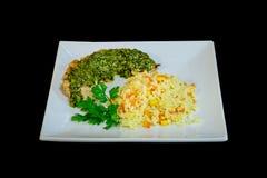 Rijst met groenten en vissensaus royalty-vrije stock foto
