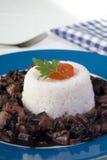 Rijst met inktvissen Stock Foto