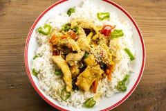Rijst met kip en groenten Royalty-vrije Stock Foto's