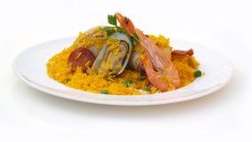 Rijst met kip en zeevruchten Stock Fotografie