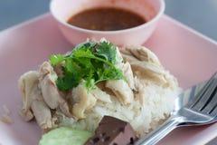 Rijst met kippensoep die wordt gestoomd. Stock Fotografie