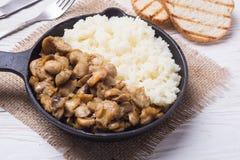 Rijst met paddestoel in pan stock fotografie