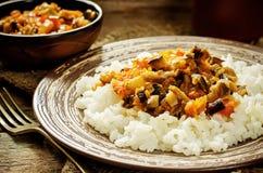 Rijst met saus van aubergine, peper en tomaten stock fotografie