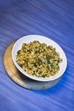 Rijst met spinazie Royalty-vrije Stock Foto's