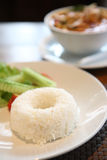 Rijst met Thaise traditionele kruidige garnalensoep Stock Foto's