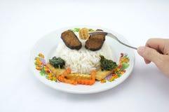 Rijst met vegetariër Stock Foto