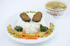 Rijst met vegetariër en soep Stock Afbeeldingen