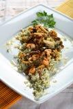 Rijst met zeevruchten en groenten Stock Foto
