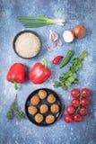 Rijst Spaanse peper Falafel royalty-vrije stock foto