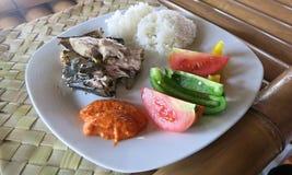Rijst, vissen, groenten en sambal De gemeenschappelijkste maaltijd in Indonesi? royalty-vrije stock afbeelding