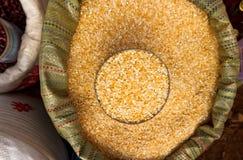 Rijst in zak Royalty-vrije Stock Foto's