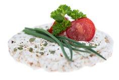 Rijstcake met roomkaas Stock Afbeelding