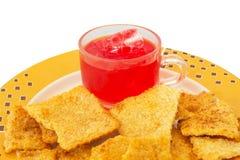 Rijstcracker met van het varkensvleeszijde en Sap rood Stock Foto's
