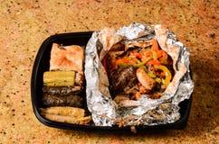 Rijstdekking en geroosterd vlees Stock Afbeeldingen