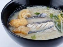 Rijsthavermoutpap met vissen Royalty-vrije Stock Foto's