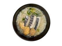 Rijsthavermoutpap met vissen Stock Afbeeldingen