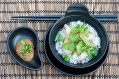 Rijsthavermoutpap met vissen stock foto