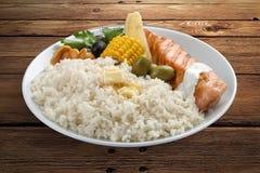 Rijsthavermoutpap met zalm en groenten stock afbeelding