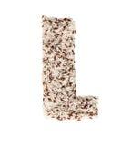 Rijstkorrel die een alfabetbrief L vormen Stock Fotografie