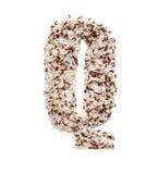 Rijstkorrel die een alfabetbrief Q vormen Stock Afbeeldingen