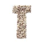 Rijstkorrel die een alfabetbrief T vormen Stock Foto's