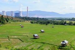 Rijstlandbouwbedrijf dichtbij elektrische centrale Royalty-vrije Stock Fotografie