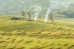 Rijstterrassen in noordwestelijk Vietnam royalty-vrije stock afbeelding