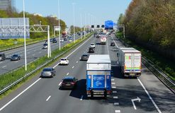 A4 motorway in the Netherlands. Rijswijk, the Netherlands. April 2019. The A4 motorway that connects the cities of Rotterdam, The Hague, Delft and Rijswijk stock image